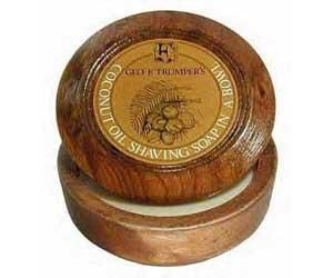Geo F Trumper Coconut Hard Shaving Soap Wooden Bowl