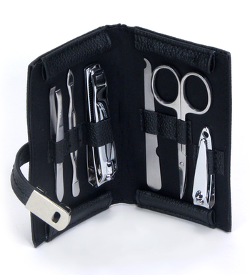 Bey-Berk 6 pc Stainless Steel Manicure Kit with Leather Case