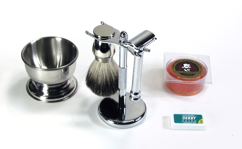 Shaving Brush Kits For Men Executive Chrome Safety Razor