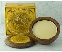 Image Geo F Trumper Sandalwood Hard Shaving Soap Wooden Bowl