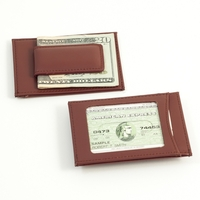 Image Brown Leather Wallet w/ Magnetic Money Clip