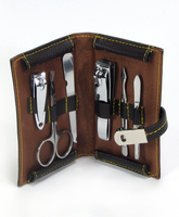 Image 6 Piece Manicure Set w/ Magnetic Snap Case, Brown