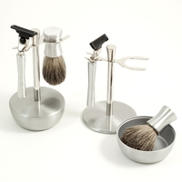 Bey-Berk Brushed Stainless Shave Set