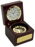 Image Navigator Clock and Compass in Mahogany Box, Brass Accents