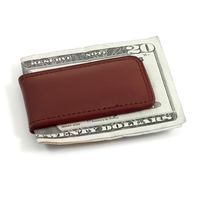 Image Brown Leather Magnetic Money Clip