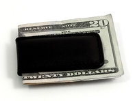 Image Black Leather Magnetic Money Clip