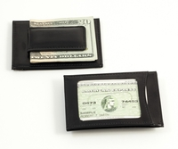 Black Leather Wallet w/ Magnetic Clip