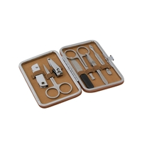 Image 9 Piece Manicure Set in Tan Ultra-Suede Hard Case