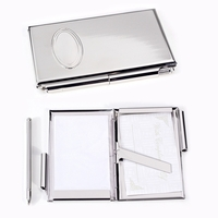 Image Silver-Plated Oval Monogram Pocket Business Card Holder