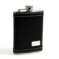 Image 8 oz. Leather Flask w/ Engraving Plate