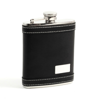 Image 6 oz. Leather Flask w/ Engraving Plate
