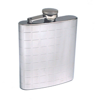 Image 7 oz. Raised Squares Chrome Flask