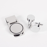 Image Silver-Plated Cufflink and Money Clip Set