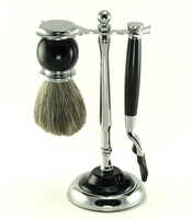Image Black Enamel Mach III Traditional Shaving Set