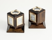 3 Time Zone Clock/Compass w/ Revolving Walnut Base