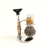 Image Tan Stone Mach III Shaving Set