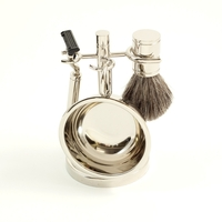 Mach III Razor, Brush and Dish Chrome Shaving Set