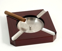 Image Cigar Ashtray, Stainless Steel and Walnut Wood