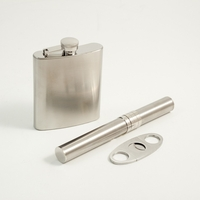 4 pc Stainless Flask, Funnel, Cigar Case, and Cutter Set
