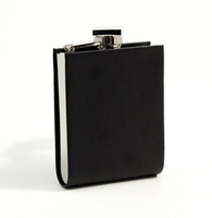 Bey-Berk 5oz Round Bottom Black Leather Flask