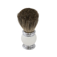 Image White/Chrome Handle Pure Badger Hair Shaving Brush