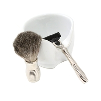 Image Chrome Shaving Set with Porcelain Soap Dish