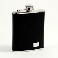 Image 6oz Stainless Steel Flask w/ Black Faux Leather