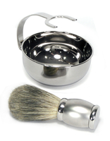 Bey-Berk Stainless Badger Brush and Bowl Set