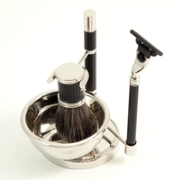 Image Black Grip Mach 3 Badger Brush Shaving Set