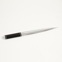 Chrome Letter Opener w/ Black Leather Handle