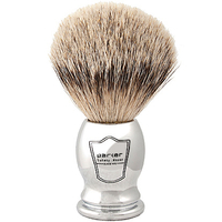 Image Parker Safety Razor 100% Silvertip Badger Bristle Shaving Brush (Chrome Handle)