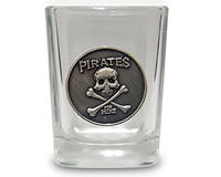 Image Pirates for Hire Pewter Emblem Shot Glass