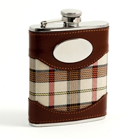 Image Tan Plaid Liquor Flask, 6 oz
