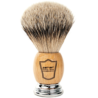 Image Parker Safety Razor 100% Silvertip Badger Bristle Shaving Brush (Deluxe Olivewoo