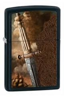 Image Zippo Black Matte Sword of War Lighter