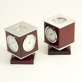 Image Clock Compass Weather Station on Revolving rosewood cube