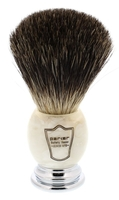 Image Parker Marbled Ivory Black Badger Bristle Shaving Brush
