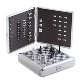 Image Magnetic Travel Chess and Backgammon Set in Stainless Steel Case
