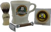 Image German Walnut Handle Stainless Steel Safety Razor Set