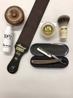 Image Dovo Forestal - Red Wood Handle Straight Razor Kit