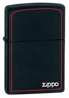 Image Zippo Black Matte With Red Border