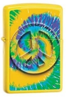 Image Zippo Peace Tye-Dye Lighter, Yellow Matte