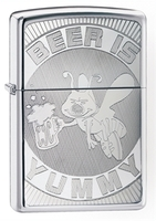 Image Zippo 'Beer Is Yummy' Lighter, Polished Chrome