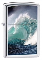 Image Zippo Wave Splash Surfing Lighter, Polished Chrome