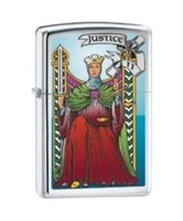 Image Zippo Tarot Justice Card Lighter, Polished Chrome