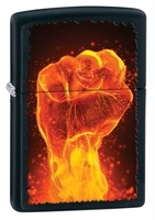 Image Zippo Fiery Fist Lighter, Matte Black