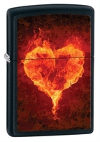 Image Zippo Flaming Heart Lighter, Matte Black