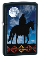 Zippo Cowboy Moon Lighter, Black Matte