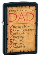 Image Zippo 'Things Learned From Dad' LIghter, Black Matte