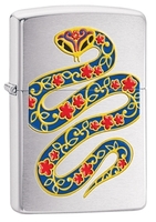 Image Zippo Snake Lighter, Brushed Chrome
